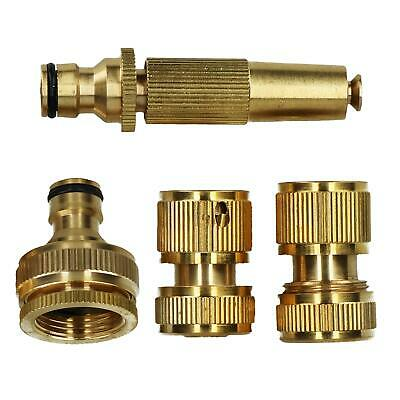 4pc Brass Garden Hose Pipe Fittings Quick Release Tap Hose Connectors Sprayer