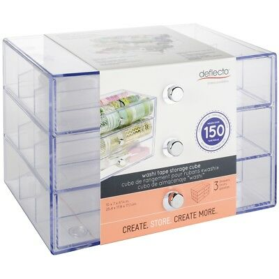"Deflecto Washi Tape Storage Cube-clear, 10""wx7""hx6.8""d"