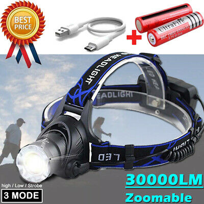 Rechargeable T6Xpe Light 90000lm Headlamp Led Flashlight Head OkZuwiTPX