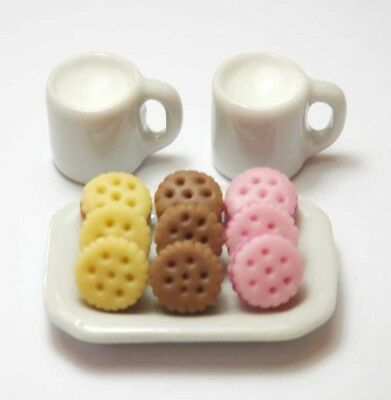 9 Mixed Dollhouse Miniature Cookies on Ceramic Tray & Drink *Mini Food Milk Mugs