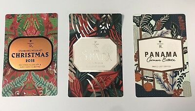 ++ 3 STARBUCKS Reserve 2018 New Collection Coffee Taster Single Card Christmas 2