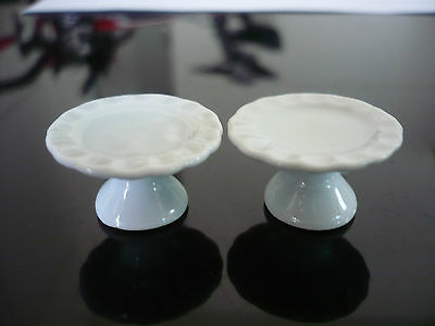 2 White Stand Cake/Bakery Handmade Dollhouse Miniatures Ceramic New