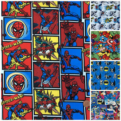 Transformers, Batman, spiderman, wonder woman  fabrics per 1/2 metre 100% cotton