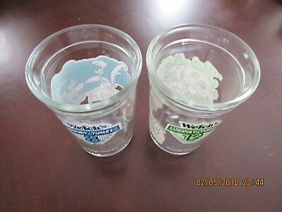 2 Welch's Looney Tunes Jelly Glasses: #8 Road Runner &  #12 That's All Folks