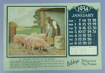 Old Advertising Calender Page - January 1934, Bibby's Balancing Pig Flakes