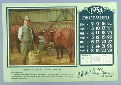 Old Advertising Calender Page - Decembe 1934, Bibby's 5-20 R.F.Cakettes - Cattle