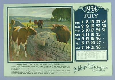 Old Advertising Calender Page - July 1934, Bibby's H.C.Cakettes - Cattle