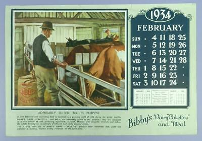 Old Advertising Calender Page - February 1934, Bibby's Dairy Cakettes - Cattle