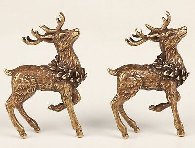 2 Unique China Bronze Statue Sika Deer Animal Solid Casting Mascot Collec Gift