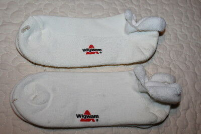 2 Pr Vintage 80s WIGWAM White TERRY Rolled Top Sport Socks Booties Unworn