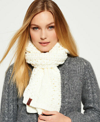 New Womens Superdry North Cable Scarf Cream