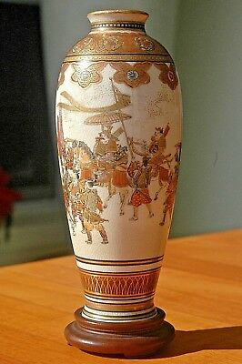 """FINE SMALL 6"""" JAPANESE SATSUMA FIGURES in PROCESSION HORSES EMPEROR VASE SIGNED"""