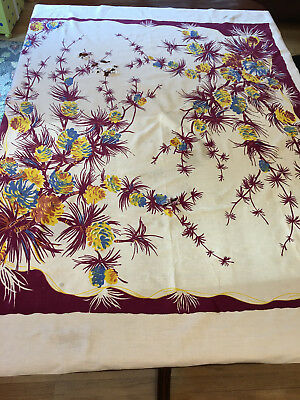 Old 1940 Vintage Linen PINECONE Pine Bough Print TABLECLOTH Odd Dye Colors AS IS