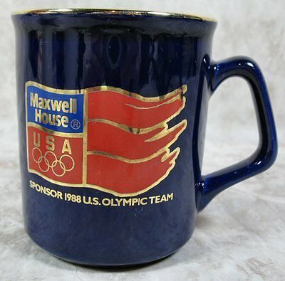 Vintage Maxwell House Coffee Cup Cobalt Blue Gold Trim 1988 Calgary Olympics