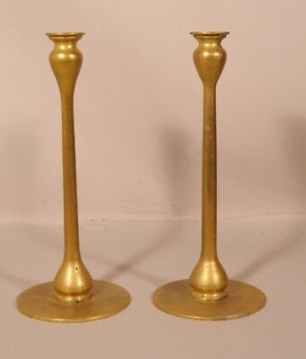 Pair of Jarvie Style Brass Arts &Crafts or Mission Style Candle Sticks