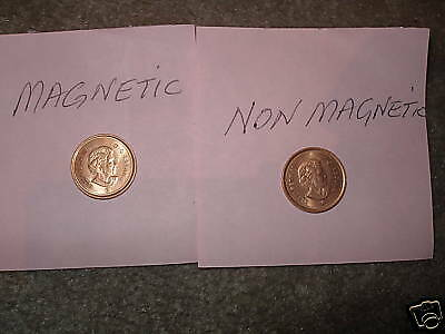 Canada 2 Varieties 2009 Penny Small Cent Magnetic & Non Magnetic.