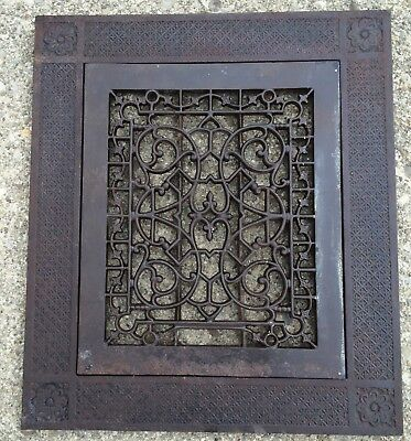 Antique Victorian Ornate Cast Iron Floor Grate Cold Air Return Register & Frame