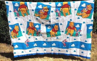 "Disney Winnie the Pooh Piglet Twin/Full Size Blanket 73""x 95""Blue Binding Clouds"