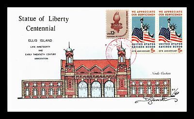 Dr Jim Stamps Us Statue Of Liberty Centennial Hand Painted Ellis Island Cover