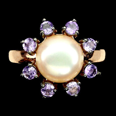 Round 10mm Creamy Pink Pearl Purple Amethyst 925 Sterling Silver Ring 9