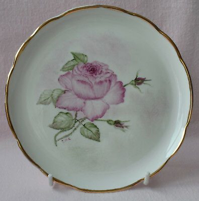 """Ceramic Decorative 6.5"""" Plate White With Golden Rim And Pink Flower Signed G M C"""