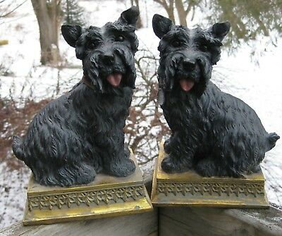 Pair of Lovely Scottie Dogs on Bases Great for Mantel