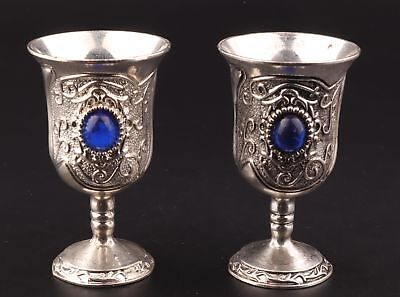 2 Rare Tibetan Silver Goblets Cup Decorated Mosaic Sapphire Collection Old