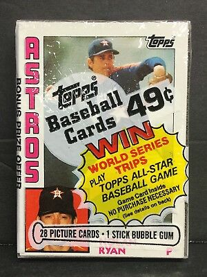 1984 Topps Baseball Unopened Cello Pack with Nolan Ryan on top