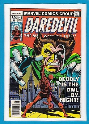 """Daredevil #145_May 1977_Fine+_""""deadly Is The Owl By Night""""_Bronze Age Marvel!"""