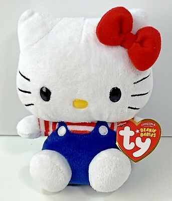 Ty Beanie Baby Retired Hello Kitty By Sanrio Plush Baby Blue Overalls Red  bow d50ab9b8453f