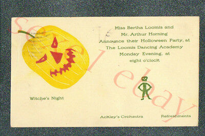DANCING  ACADEMY HALLOWEEN PARTY INVITATION    - circa 1904 Postcard GRADE 4