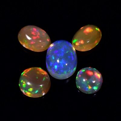 5pcs Lot 3.07ct t.w Round & Oval Natural Play-of-Color Crystal Opal, Ethiopia