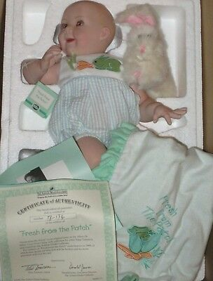 """Fresh From the Patch bisque doll by artist Titus Tomescue- retired- MIB-COA-13"""""""
