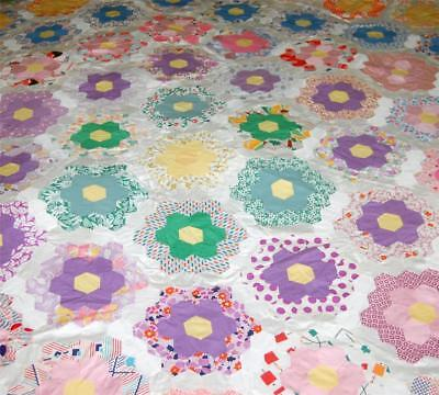 Vintage Quilt Top Hand Stitched #1 83x71 Antique