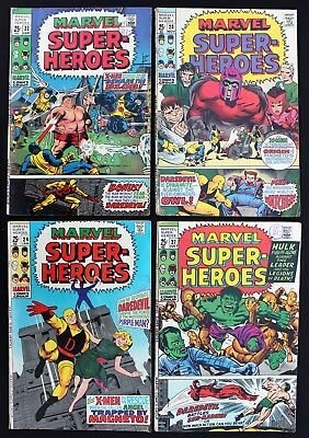 X-MEN in Marvel Super-Heroes 22 23 24 27 lot4 fn/fn+1969 Silver Age GIANTComics