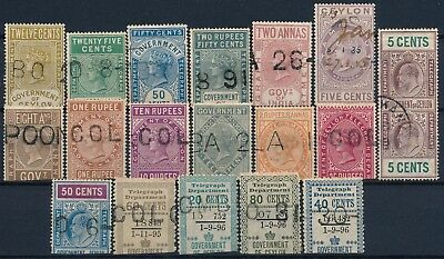 British Ceylon, Nice & Interesting Used Lot Of Diff. Telegraph Revenues #l348