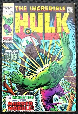 Incredible Hulk (vs the Leader) 123 a vfn+ 1970 early Bronze Age Marvel Comic