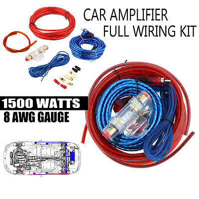 1500W 8 Gauge Amp Kit Complete Amplifier Wiring Install Speaker Power Wire Kit
