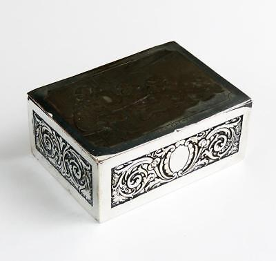ANTIQUE SILVER PLATED TRINKET BOX c1900 LES CREPES