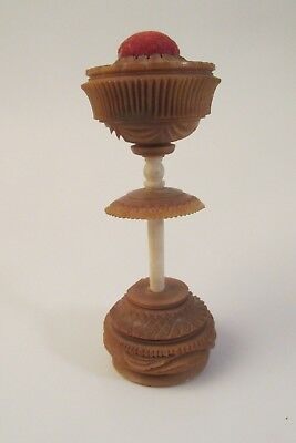 Antique Hand Carved Sewing Item.Thread Spool Holder /Pin Cushion.Butterscotch NR