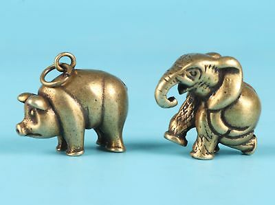 2 Unique Chinese Bronze Statue Pendant Elephant Pig Mascot Collection Gift