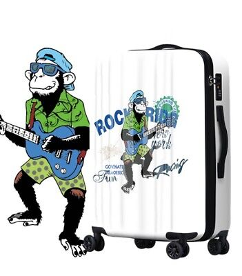 E782 Universal Wheel Cartoon Rock Monkey Travel Suitcase Luggage 20 Inches W
