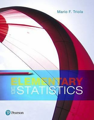 Elementary Statistics by Mario F. Triola (2017, Hardcover) Like New (never used)