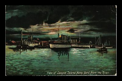 Dr Jim Stamps Us View League Island Navy Yard From River Pennsylvania Postcard