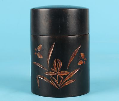Unique Japanese Style Wood Tea Caddy Sealed Portable Carved Orchid Collection