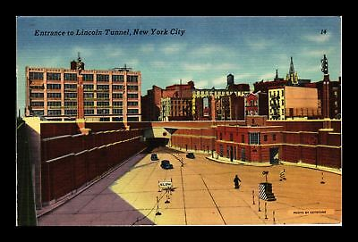 Dr Jim Stamps Us Entrance Lincoln Tunnel New York City Linen View Postcard