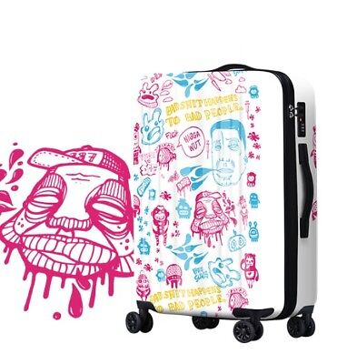 E449 Lock Universal Wheel Multicolor Graffit Travel Suitcase Luggage 20 Inches W