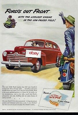 Ford Motor Company 1946 Red Coupe Fords Out Front With Liveliest Engine V8 Ad