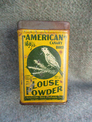 Vintage Pet American Canary Cage Bird Louse Powder Tin Can