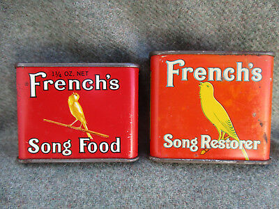 Vintage Frenchs Pet Cage Bird Song Food & Restorer Tin Can Lot